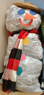 Have a snowball fight with wadded up newspapers and then stuff garbage bags with the newspaper to make snowmen.  (Winter Weather Week)