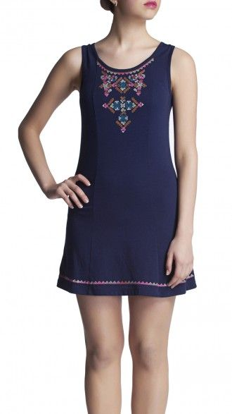 sbuys - Knit Dress with Aztec Embroidery #sbuys #spring #aztec #embroidery #boho #dress Shop now at www.sbuys.in