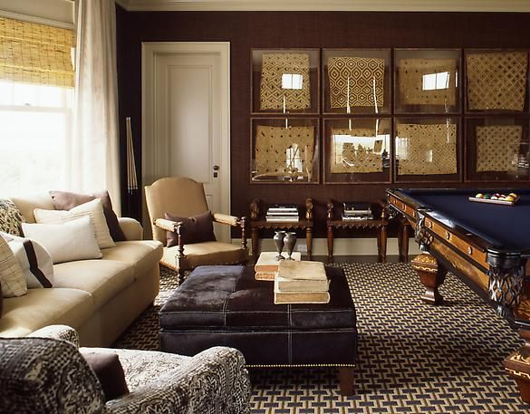 handsome billiard room in blue beige brown says the designer i think it