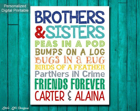 Brother and Sister Wall Art. Sibling Wall by LittleLifeDesigns