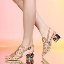 Marca Cor de Fios Net Mulheres Sapatos de Salto Alto Sandálias de strass couro genuíno Das Mulheres do salto grosso Sandálias da moda Sandálias # D27(China (Mainland))