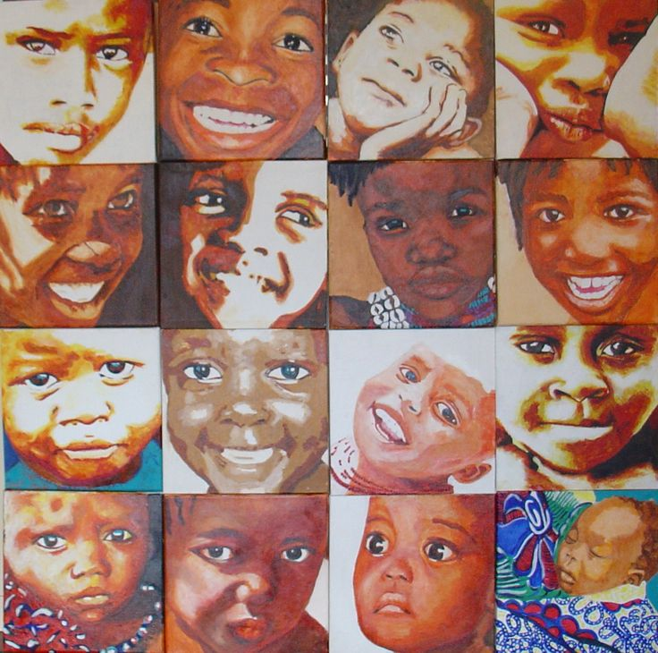 16 Portretjes Portrets Acryl 30 X Cm