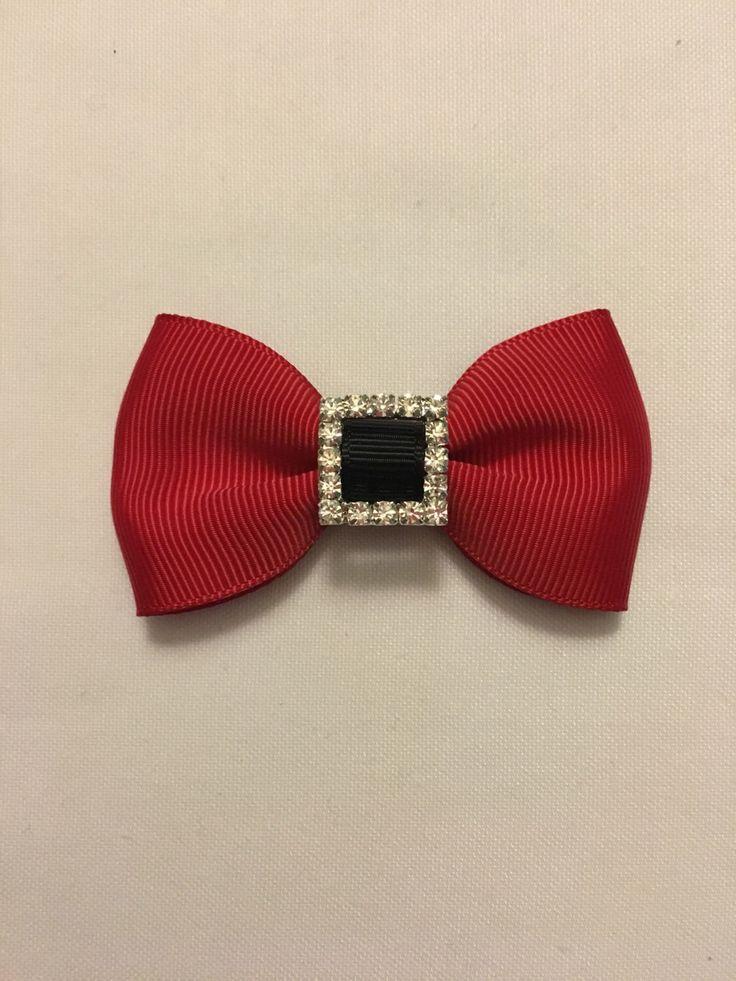 Christmas hair bow, ready to ship, santa bow, red and black bow, rhinestones, nylon headband, alligator clip, Christmas bow by AvaAndAnthony on Etsy https://www.etsy.com/listing/492056017/christmas-hair-bow-ready-to-ship-santa