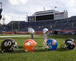 denver broncos helmets through the years, they need one more! :)