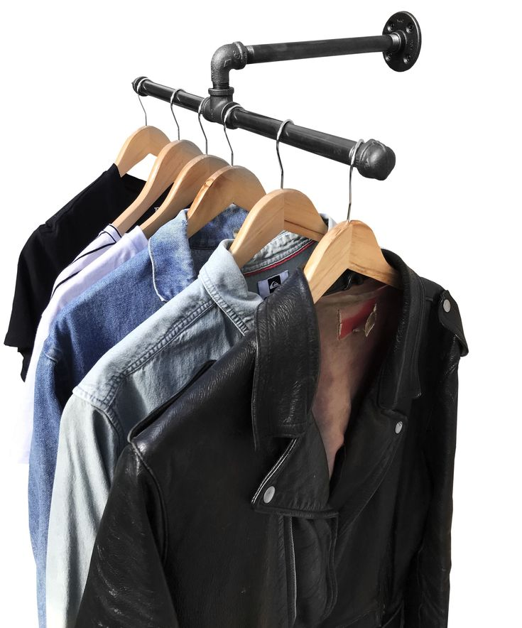 Industrial Pipe Wall Mount Clothing & Garment Rack by DIY CARTEL - Perfect for Retail Display and Organizing - - - - - Tags: DIY, Black, Iron, Industrial, Raw, Furniture, Steampunk, Plumbing Pipe, Gas Pipe