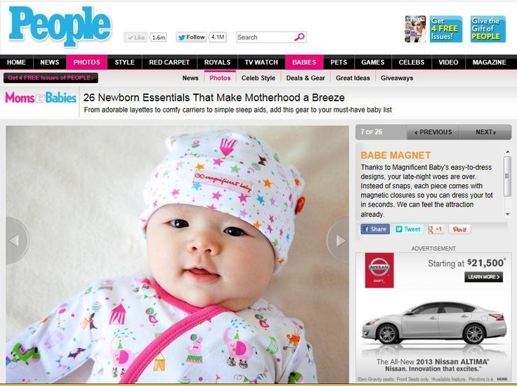 Magnificent Baby features in People's Magazine! October 2012