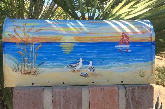 hand painted LARGE mailbox tropical beach nautical coastal
