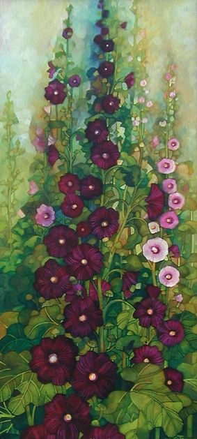 2007 Elisabetta Trevisan (Italian): Hollyhocks Gardens, Gardens Illustrations, Althea, Gardens Paintings, Elisabetta Trevisan, Illustrations Gardens, Holly Hock, Paintings Gardens Flowers, Flowerpot