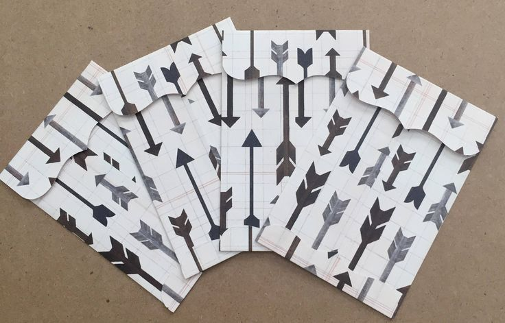 Patterned Arrows Small Envelopes, Set of 4 by HellaCrafty415 on Etsy