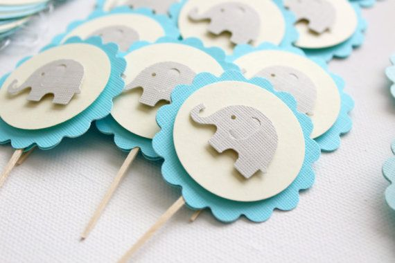 24 Baby Elephant Cupcake Toppers Boy Baby Shower by FancifulChaos, $20.00