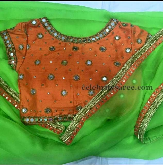 Orange Mirror Work Blouse