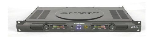 Samson Servo 120A Stereo Power Amplifier, 120 Watts by Samson. Save 20 Off!. $199.00. The Samson Servo 120A is a reference-class 120 watt (60 watts per side at 4 ohms) single rack space power amplifier designed for use with near-field studio monitors or wherever distortion free, wide, flat frequency response is required. Features include servo controlled soft on/off, silent convection cooling, independent left/right level controls with 10-segment LED meters, balanced 1/4 inch TRS and g...