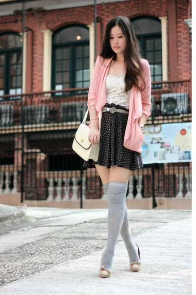 Casual romantic outfit, baby doll dress, thigh highs, pink jacket-so cute!