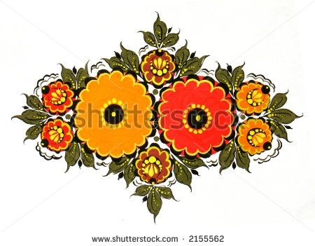 Floral design in a Russian folk style, scan of original drawing by Svetlana Tikhonova, via ShutterStock