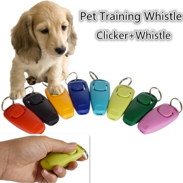 2 In 1 Solid Color Whistle Clicker Combo Pet Dogs Trainings