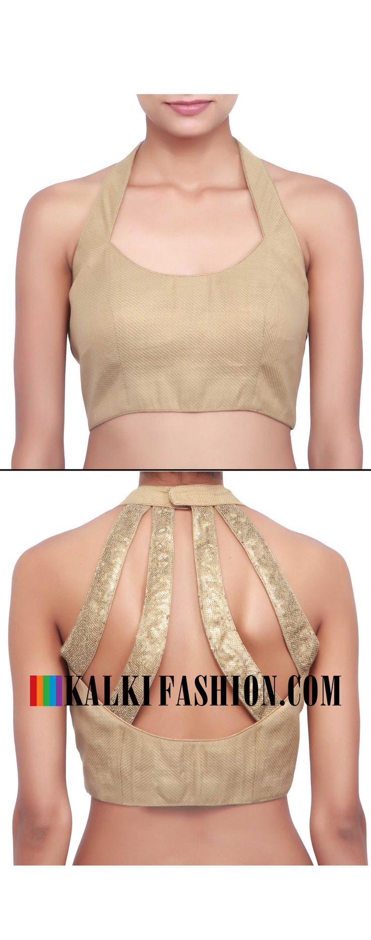 Buy online at: http://www.kalkifashion.com/gold-blouse-with-halter-neckline-only-on-kalki.html Free shipping worldwide.