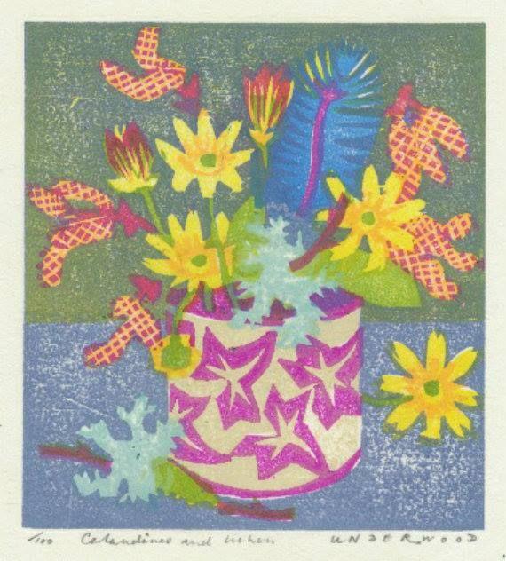 """""""Celadines and Lichen"""" by Matthew Underwood (woodblock print)"""