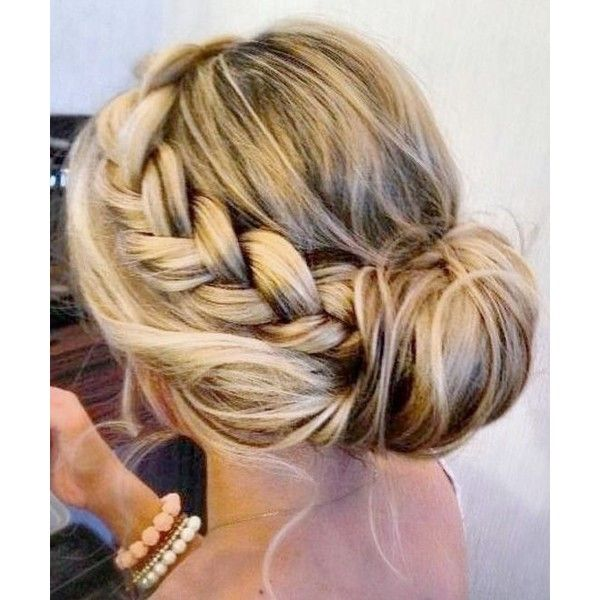 Pretty Braided Updo Hairstyles ❤ liked on Polyvore featuring beauty products, haircare, hair styling tools, hair and hairstyles