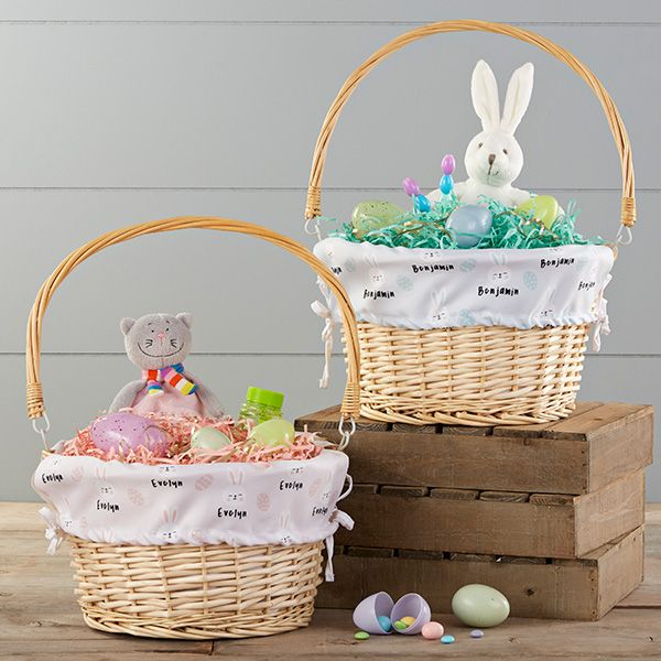 Bunny Treats Personalized Easter Basket With Drop Down Handle Personalized Easter Basket Bunny Treats Easter Gift For Adults