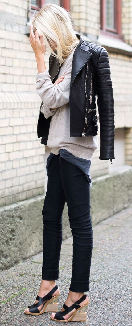 Perfect leather jacket spring casual outfit