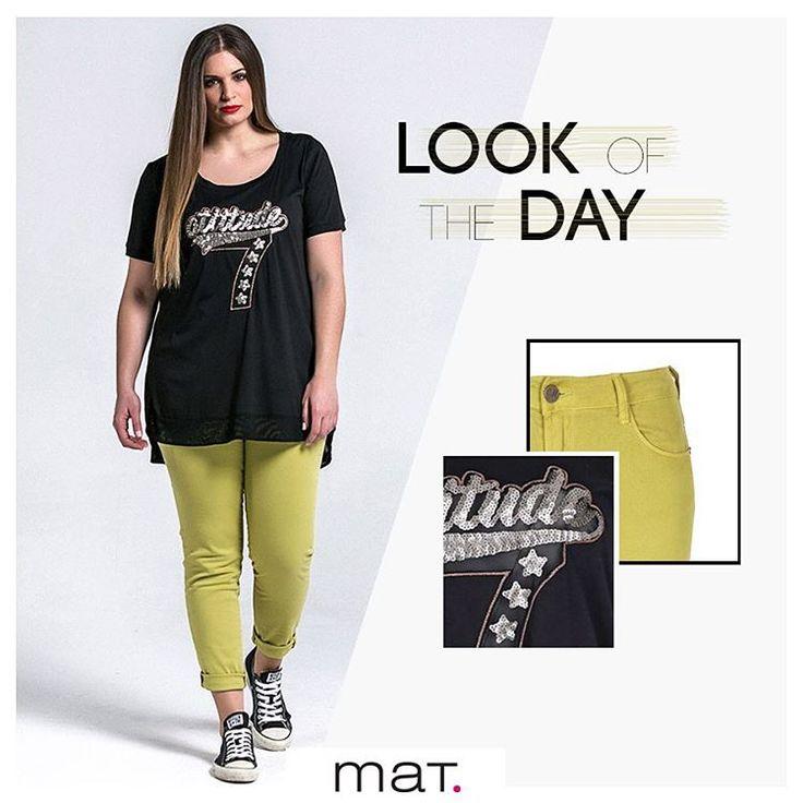 Το στυλ κρύβεται στους ανεπιτήδευτους συνδυασμούς! Ένα κολακευτικό slim παντελόνι σε πρωτότυπη lime απόχρωση φορεμένο με ένα cool t-shirt με παγιέτες, για την απαραίτητη δόση λάμψης, αρκούν για άψογο all-day look! Aνακάλυψε την μπλούζα ➲ code: 671.1333  Ανακάλυψε το παντελόνι ➲ code: 673.2034 #matfashion #ss17 #collection #ootd #plussizefashion #psblogger #fashion #lookoftheday