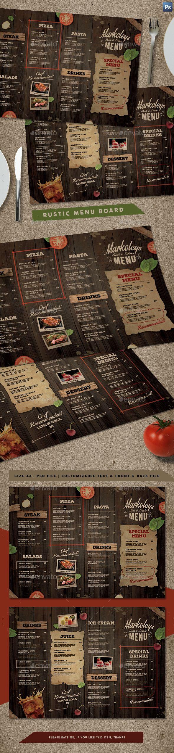 Rustic Cafe Menu Board — Photoshop PSD #food menu #menu design • Download ➝ https://graphicriver.net/item/rustic-cafe-menu-board/20349425?ref=pxcr