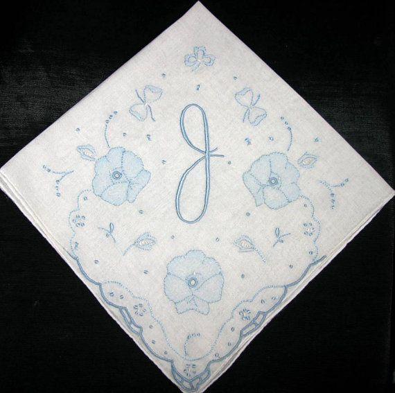 Monogram Bridal Handkerchief Vintage Monogrammed Letter