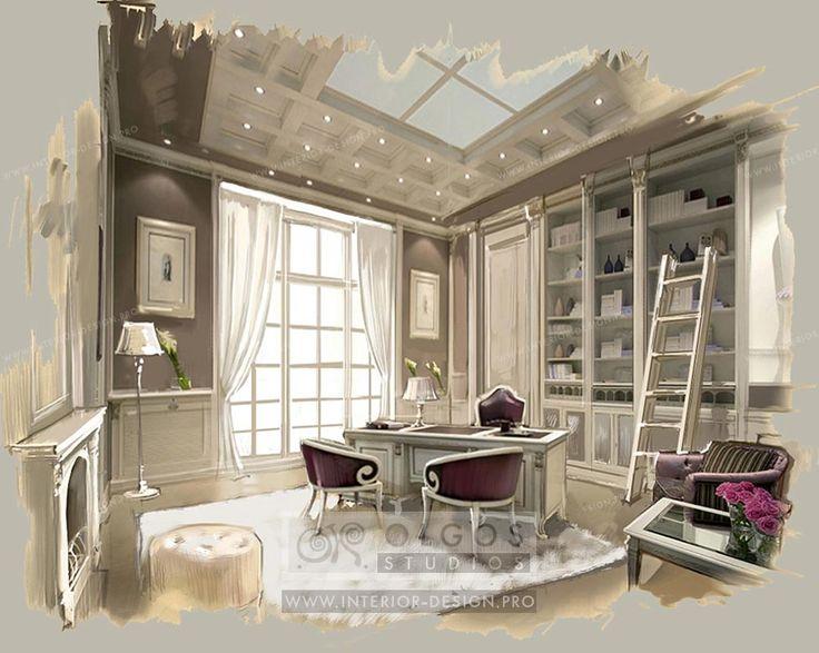 French classic study interior http://interior-design.pro/en/house-interior-design
