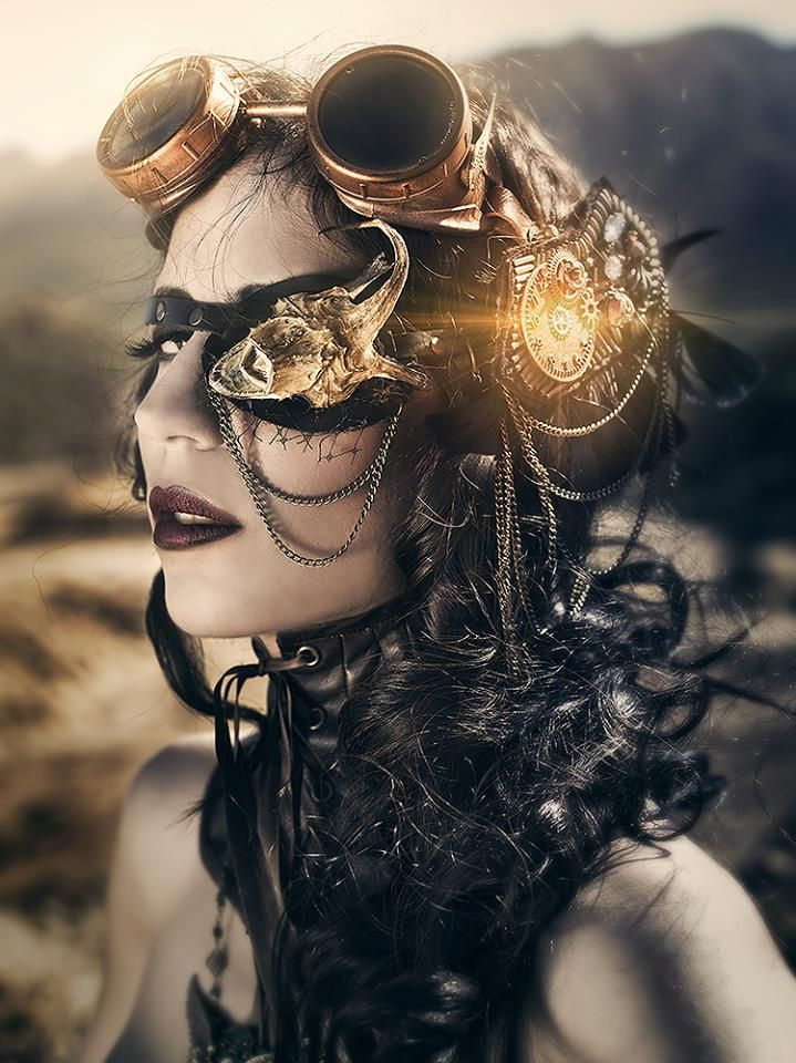 Steampunk Tendencies | The girl with one eye by Rebeca Saray Model: Lorena Lopez - Make-up: Hugo Make-up - Corset Necklace: El costurero real - Goggles by Factoria goggles