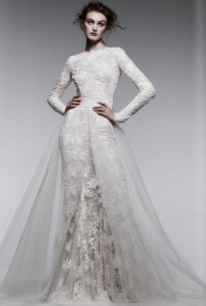 Monique Lhuillier lace long-sleeve wedding dress #bridal #gown @C California Style magazine #GetLostOnIssuu