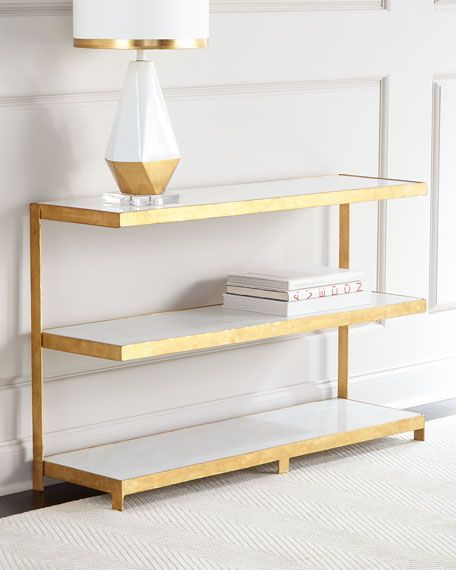 """Console has iron frame with 1.5""""-thick marble cantilevered shelves. Veining color and pattern of marble may vary as it is a natural material; no two shelves or consoles are exactly alike. Hand-applied"""