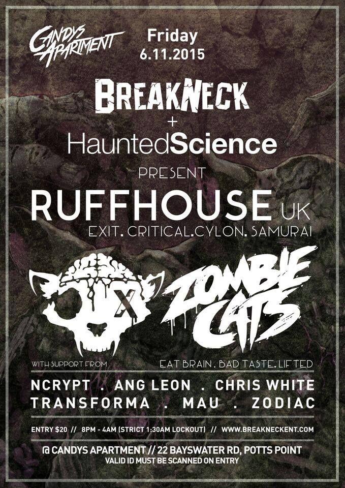 Haunted Science Sydney w/Ruffhouse & Zombie Cats @ Candy's Apartment, Fri 6 November 2015