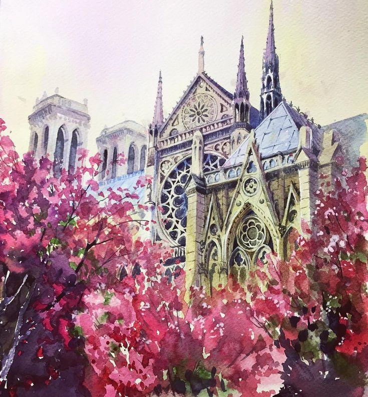 Париж акварелью картинки