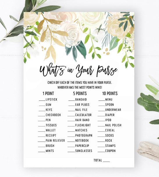 What's in Your Purse Baby Shower Game – White Gold Watercolor Flowers Gender Neutral – Printable Instant Download