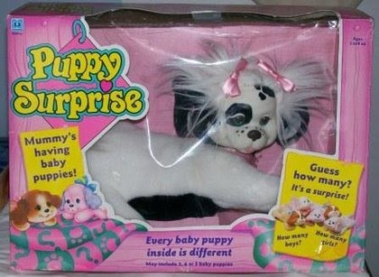 Puppy Surprise. Probably one of the toys I was most excited about getting because you didn't know how many puppies were inside until you got the toy, haha.  My Brother and I got these for Easter :)
