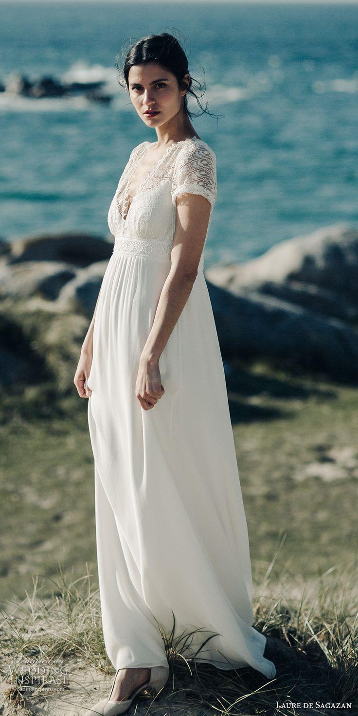 laure de sagazan 2017 bridal half sleeves v neck heavily embellished bodice bohemian empire wedding dress keyhole back sweep train (vadim) mv -- Laure de Sagazan 2017 Wedding Dresses