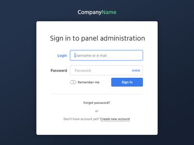Login screen to administration panel