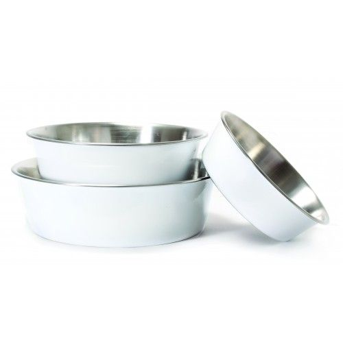 Harry Barker White Stainless Steel Dog Bowls