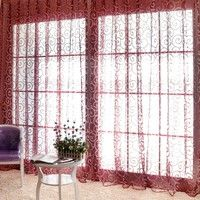 Home | Floral Tulle Voile Door Window Curtains Drape Panel Sheer Scarf Valances