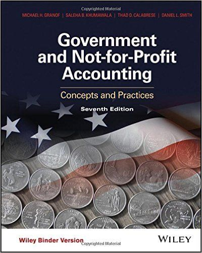 Test Bank Government and Not for Profit Accounting Concepts and Practices 7th Edition by Michael H. Granof