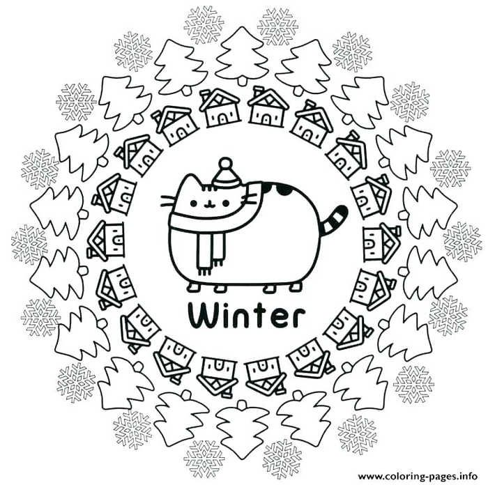 Winter Kawaii Cat Coloring Page Free Coloring Sheets In 2020 Pusheen Coloring Pages Christmas Coloring Pages Coloring Pages