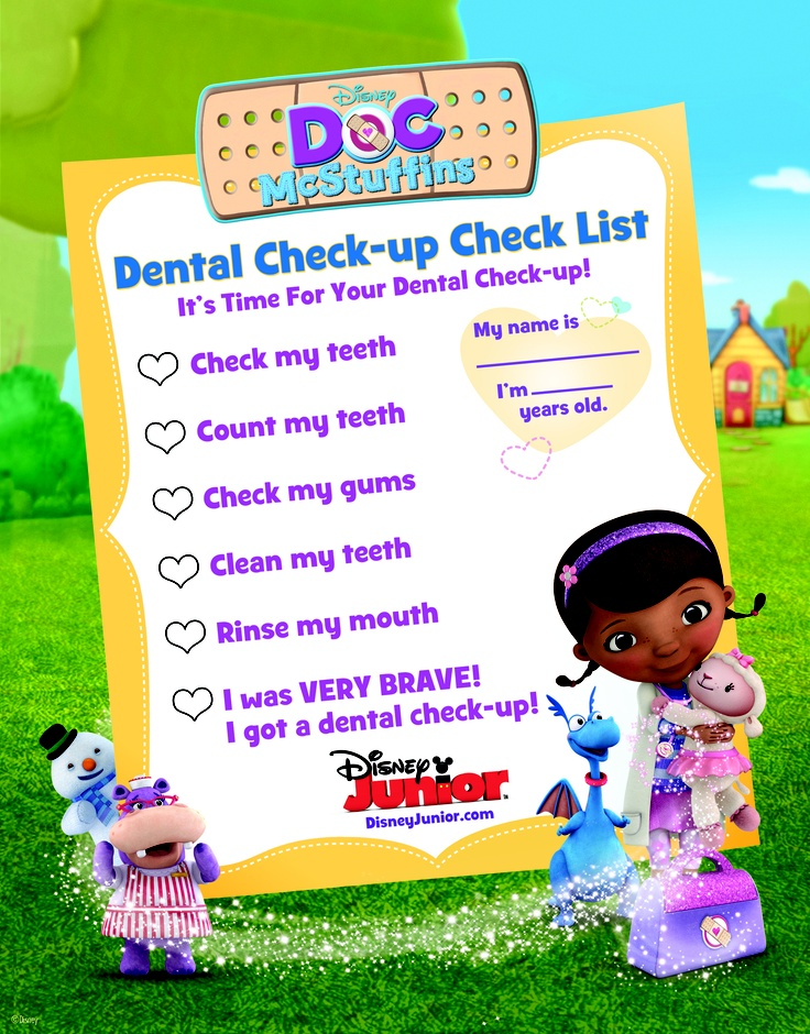 Help your little one through going to the dentist with this Doc McStuffins Dental Check-Up Check List!  3DisneyJunior