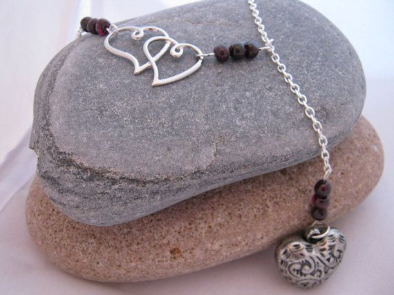 Heart and Garnet Gemstone Long Y Necklace 2017 by AnnethDesigns