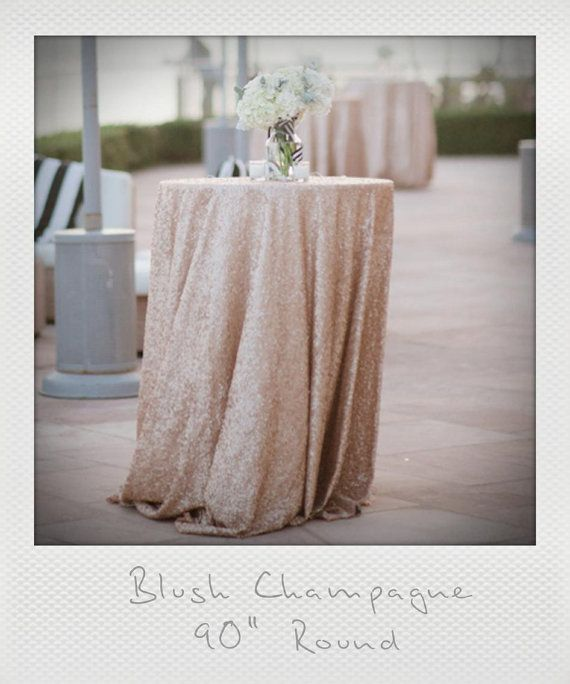 """72"""", 90"""", 120"""" Champagne Blush and Chevron Round Tablecloths, Nude, Rose Gold Hues, 1 DAY SHIP. Gatsby glam wedding"""