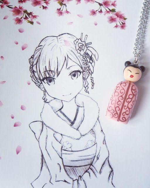 Collana con bambolina giapponese (stilizzata) con kimono rosa. Il disegno è stato realizzato a matita da mia figlia, al quale ho aggiunto i fiori di pesco.