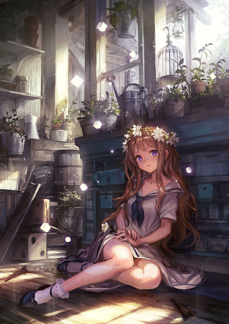 Anime Mädchen,, braunes Haar,, lila Augen,, langes Haar,, Blumen,, Schuluniform
