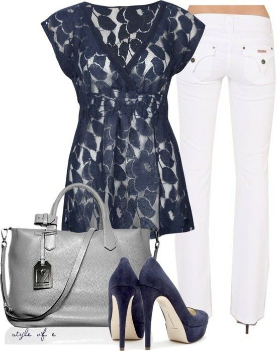 : Outfits, Lace Tops, Style, Shirts, Clothing, White Pants, White Jeans, Blue Su Shoes, The Navy