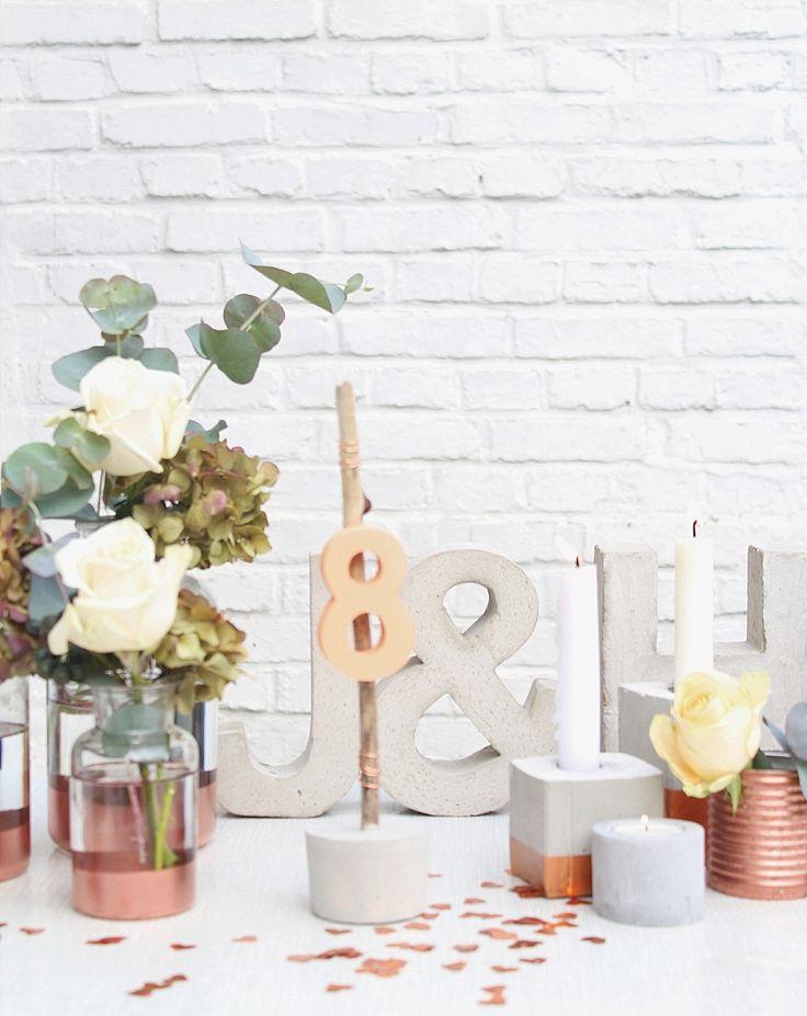 #kupfer #copper #tischdeko Hochzeitsdekoration leihen! Von Vintage Geschirr, über Stühle bis hin zu Girlanden | Hochzeitsblog - The Little Wedding Corner