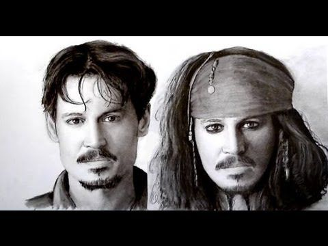 Johnny Depp - speed drawing, dry brush technique - YouTube