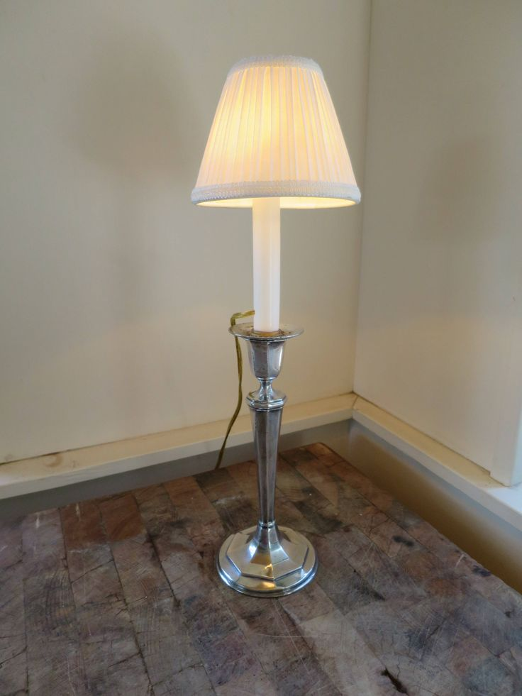 Vintage candlestick lamp silver plate candlestick w lamp insert pleated white fabric clip on shade